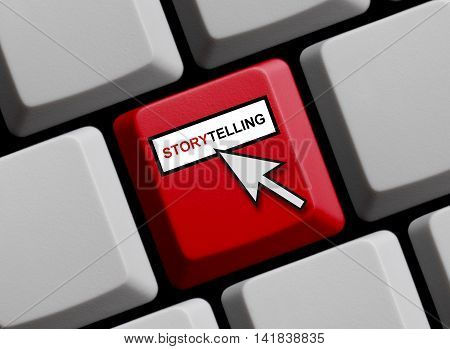 Red Computer Keyboard with mouse cursor is showing Storytelling online