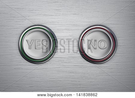 Yes and No buttons on a metal background. 3D rendering