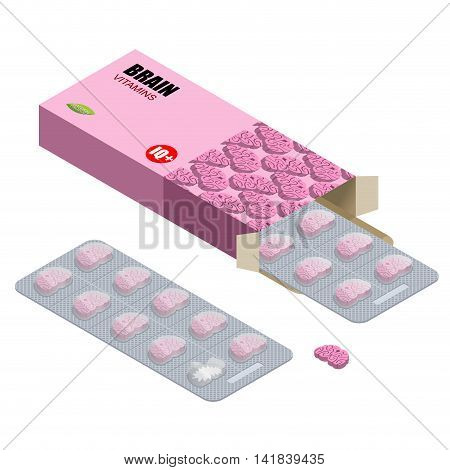 Brains Vitamins. Iq Pills. Tablets In Pack. Natural Medicines For Mind In Form Of Brain. Smart  Medi