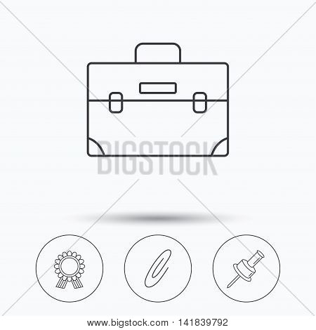 Award medal, pushpin and briefcase icons. Safety pin linear sign. Linear icons in circle buttons. Flat web symbols. Vector