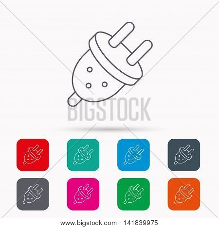Electric plug icon. European socket sign. Linear icons in squares on white background. Flat web symbols. Vector