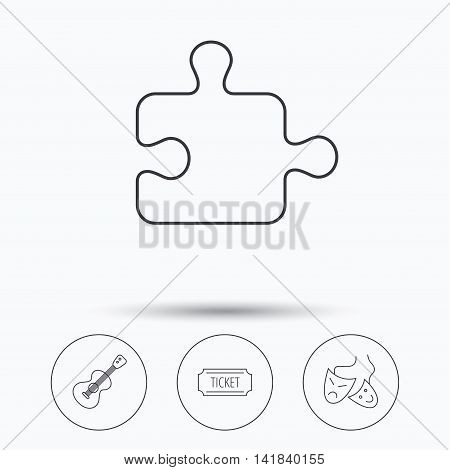 Puzzle, guitar music and theater masks icons. Ticket linear sign. Linear icons in circle buttons. Flat web symbols. Vector
