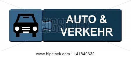 Isolated Puzzle Button with symbol is showing Car and Traffic in german language