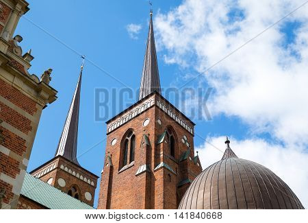 Roskilde upward view of the Romanesque and Gothic transitional style Cathedral