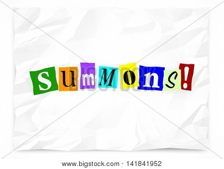 Summons Notice Appear Court Legal Ransom Note 3d Illustration