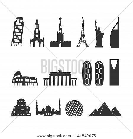 Landmark Travel Set. Silhouette Architectural Monuments. Known State Of Building. Eiffel Tower, And