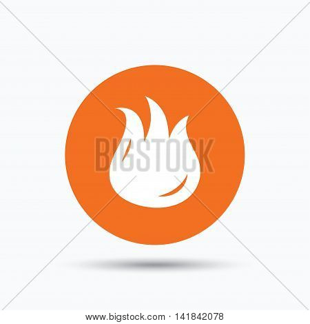 Fire icon. Blazing bonfire flame symbol. Orange circle button with flat web icon. Vector