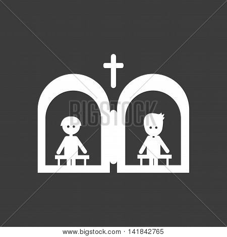 flat icon in black and white style confession priest