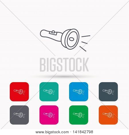 Flashlight icon. Light beam sign. Electric lamp tool symbol. Linear icons in squares on white background. Flat web symbols. Vector