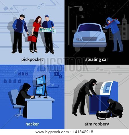 Various burglars and criminals committing crimes 2x2 flat isolated icons set vector illustration