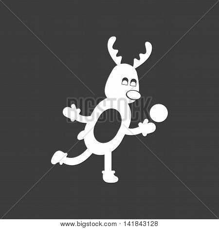 flat icon in black and white style Christmas reindeer