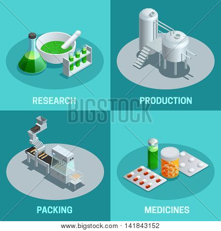 Isometric 2x2 compositions of pharmaceutical production steps like research production packing and end product medicines vector illustration