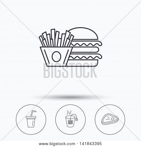 Hamburger, meat and soft drink icons. Tea bag linear sign. Linear icons in circle buttons. Flat web symbols. Vector