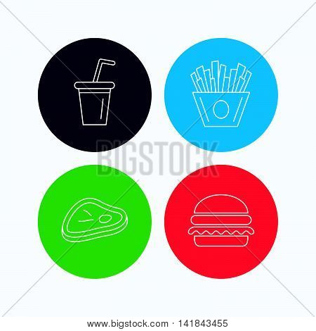 Hamburger, meat and soft drink icons. Chips fries linear sign. Linear icons on colored buttons. Flat web symbols. Vector