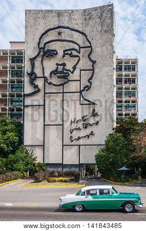 HAVANA, CUBA - MARCH 18, 2016: Che Guevara on the wall in the Revolution Square in Havana Cuba