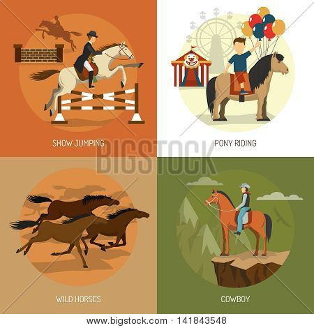 Horse breeds concept 4 flat icons square with equestrian show jumping and pony riding abstract isolated vector illustration