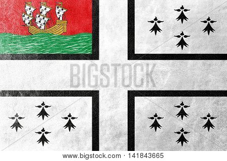 Flag Of Nantes, France, Painted On Leather Texture