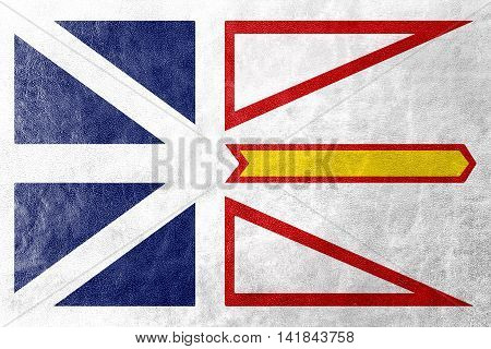 Flag Of Newfoundland And Labrador Province, Canada, Painted On Leather Texture