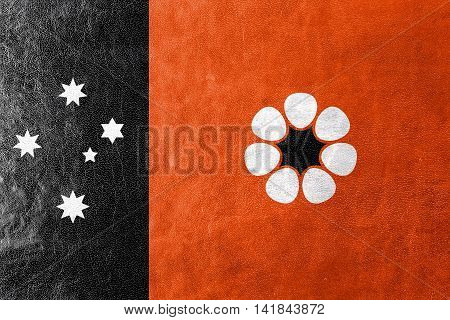 Flag Of Northern Territory, Australia, Painted On Leather Texture