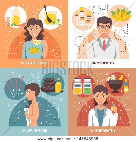 Alternative medicine 2x2 concept set of homeopathy phytotherapy naturopathy acupuncture  flat design compositions vector illustration