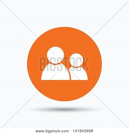 Friends icon. Group of people sign. Communication symbol. Orange circle button with flat web icon. Vector
