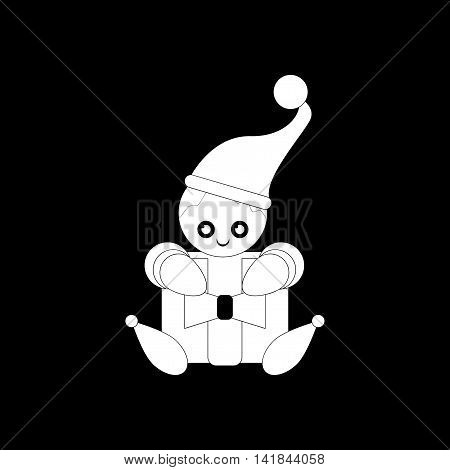 flat icon in black and white style Christmas elf