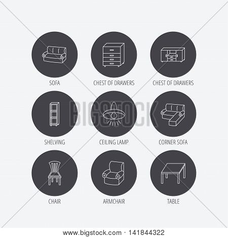 Corner sofa, table and armchair icons. Chair, ceiling lamp and chest of drawers linear signs. Shelving, furniture flat line icons. Linear icons in circle buttons. Flat web symbols. Vector