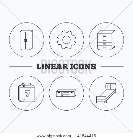 Single bed, TV table and cupboard icons. Chest of drawers linear sign. Flat cogwheel and calendar symbols. Linear icons in circle buttons. Vector