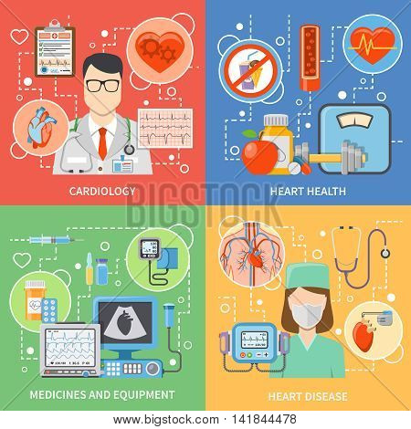 Colorful cardiology flat 2x2 icons set with cardiologists medicines and equipment for heart health and treatment isolated vector illustration