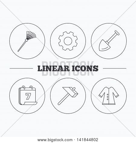 Shovel, hammer and cloak icons. Rake linear sign. Flat cogwheel and calendar symbols. Linear icons in circle buttons. Vector