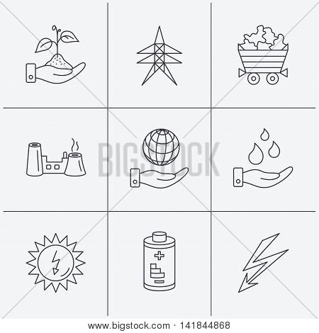 Save nature, planet and water icons. Minerals, lightning and solar energy linear signs. Battery, factory and electricity station icons. Linear icons on white background. Vector