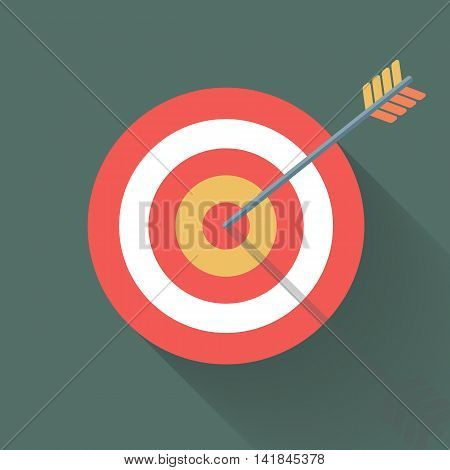 Aiming concept, the arrow in bulls eye, colorful vector flat illustration