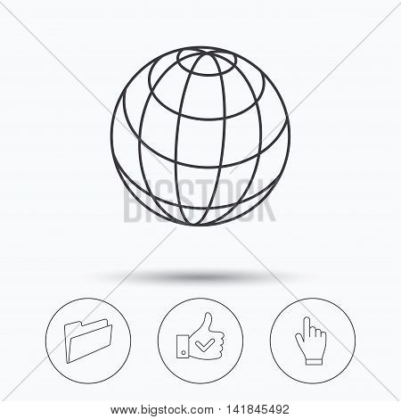 Folder, press hand and world globe icons. Social network linear sign. Linear icons in circle buttons. Flat web symbols. Vector