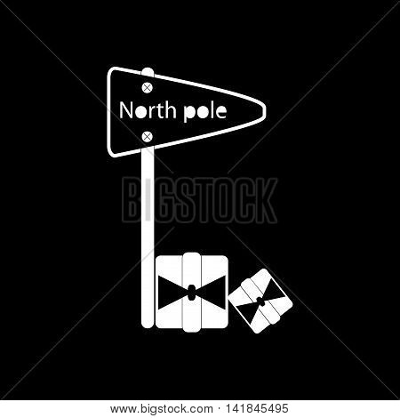 flat icon in black and white style pointer North Pole