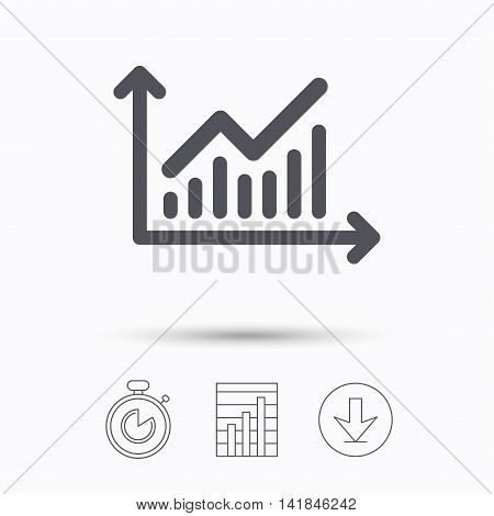 Graph icon. Business analytics chart symbol. Stopwatch, chart graph and download arrow. Linear icons on white background. Vector