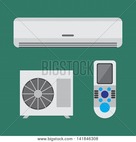 Air conditioner equipment set. Colorful vector flat illustration.