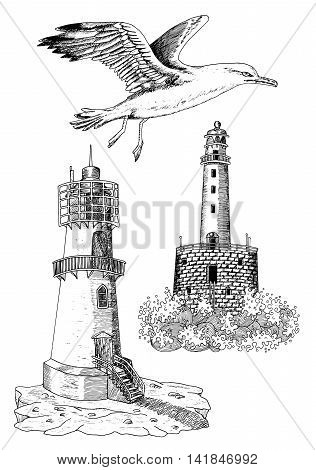 Design set with hand drawn elements of flying gulls and old light houses, black and white silhouettes