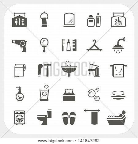Bathroom icons set isolated on white background