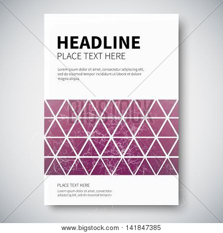 Cover design with abstract colorful triangulated lined geometry, vector illustration