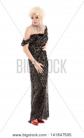 Portrait Drag Queen In Black Evening Dress Performing