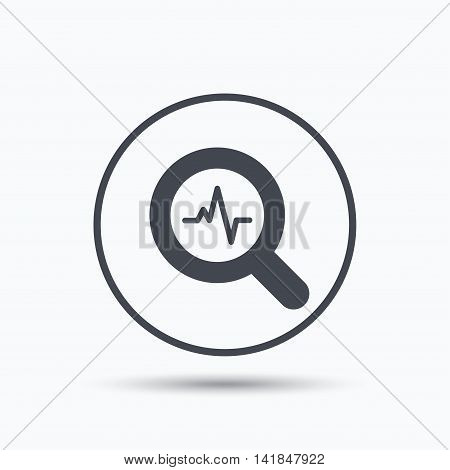 Heartbeat in magnifying glass icon. Cardiology symbol. Medical pressure sign. Circle button with flat web icon on white background. Vector