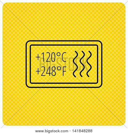 Heat resistant icon. Microwave or dishwasher information sign. Attention symbol. Linear icon on orange background. Vector