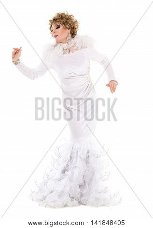 Portrait Drag Queen In White Dress Performing