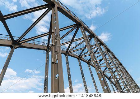 steel bridge arches against a blue sky