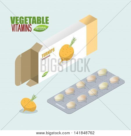Turnip Pills In Pack. Vegetarian Vitamins. Tablets Fresh. Natural Products For Health In Form Of Bul