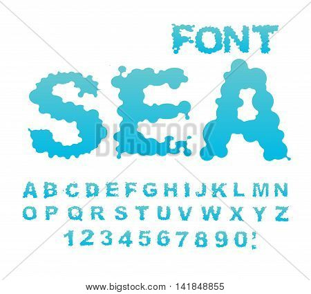Sea Font. Water Abc. Aqua Alphabet. Wet Letters. Blue Blob