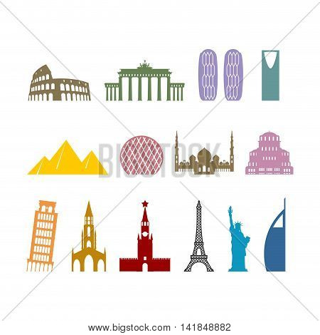 Landmark Travel Set. Architectural Monuments. Known State Of Building. Eiffel Tower, And Moscow Krem