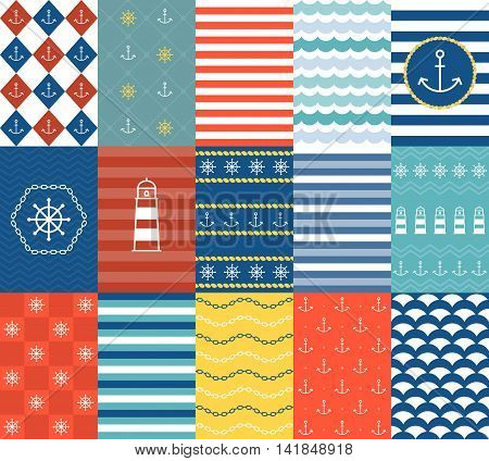 Vector marine backgrounds, lace, border, frame and seamless pattern for use in printing, postcard, invitation, banner, website, mobile application and advertising.