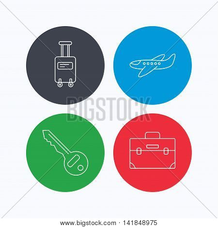 Suitcase on wheels, key and airplane icons. Briefcase linear sign. Linear icons on colored buttons. Flat web symbols. Vector