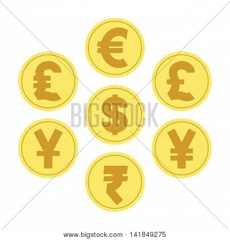Coins For Currency Exchange Rates Illustration Vector. Finance Concept.